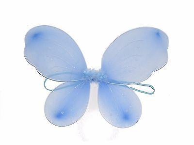 X12 WHOLESALE BULK GIRLS SMALL BLUE FAIRY WINGS GLITTER FANCY DRESS UP (Blue Wings Kostüm)