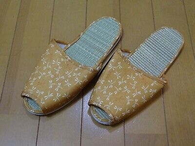 Japanese Tatami Slippers Cool Comfortable Room Shoes Yellow Dragonfly Size US6-8