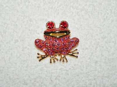 Bright Pink Purple & Red Rhinestone & Enamel Frog Brooch Pin