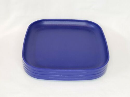"Tupperware Square Luncheon Plates 8"" Set of 4  Royal Blue NEW"