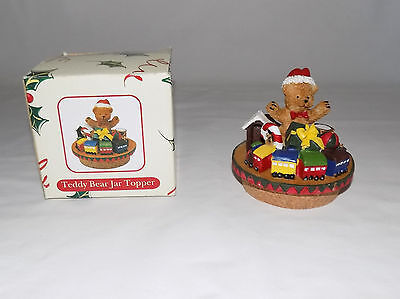 AC MOORE TEDDY BEAR & TRAIN JAR TOPPER CANDLE WITH CORK BOTTOM 2 3/4