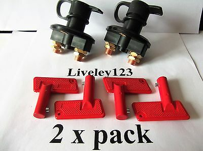 Battery  Isolator  Power Cut Off  Switch Pair   4  KEYS & 2 x WATERPROOF COVERS