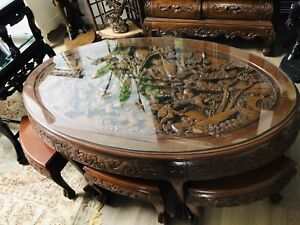 Beautiful Carved Chinese Tea Table and Stools
