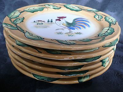 """Fitz and Floyd, Ricamo Portofino Set of 6, Rooster 8 1/2""""  Salad / Lunch Plates"""