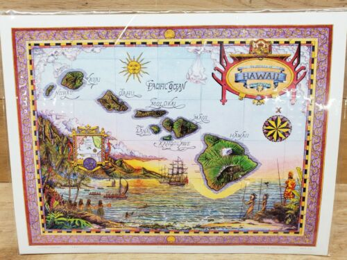 Map of Old Hawaii - The Islands of Hawaii - Colored Cartographic 9 x 12
