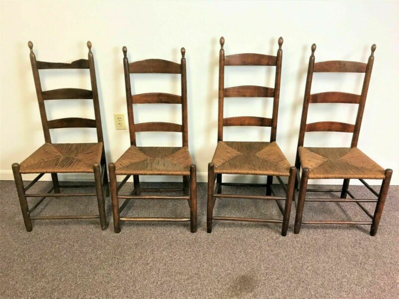 Set of 4 19th Century Shaker Ladder Back Chairs with Rush Seats