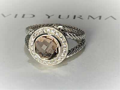 David yurman Cerise Petite Ring with 8mm Light Pink Morganite & diamonds, size 6