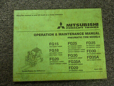 Mitsubishi Fd30 Fd35a Forklift Lift Truck Operator Maintenance Manual
