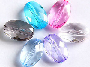 50 X LARGE CLEAR OR GREY OVAL FACETED ACRYLIC BEADS,15 x 10 MM