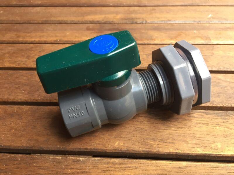 """Rain Barrel Water Spigot Kit 3/4"""" PVC Ball Valve and Bulkhead Fitting."""