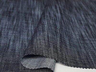 Leichter Jeans Stoff 100% Baumwolle für Hemd Hose Kleid Marineblau Leinenoptik