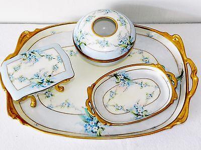 Antique Pickard Porcelain Vanity Set Dresser Tray Hair Receiver Trinket Box 5 Pc