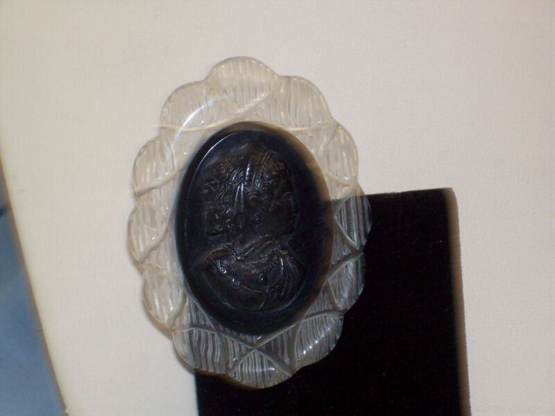 "Vintage Carved Clear Lucite Black Cameo Oval 3"" Brooch"