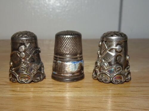 VINTAGE~ANTIQUE LOT OF (3) STERLING SILVER ORNATE THIMBLES