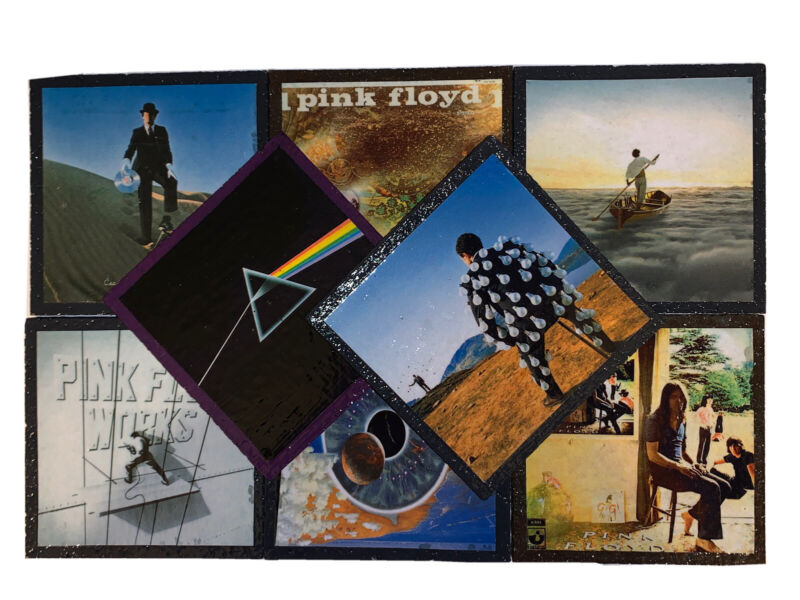 DIY 8 Piece Handmade Coasters Vinyl LP Cover PINK FLOYD Dsotm Pulse Ummagumma