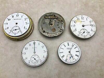 Lot 5 Antique Pocket Watch Movements Ingersoll-Trenton Equity Elgin Waltham Plus