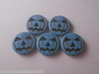 - Howlite Pumpkin Head Bead LOT of 5 Turquoise NEW 1/2