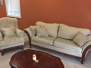 3 Beige Couch Set + Coffee Table