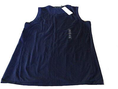Uniqlo +J Jil Sander Women Stretch Supima Cotton Sleeveless T-Shirt Navy XXL