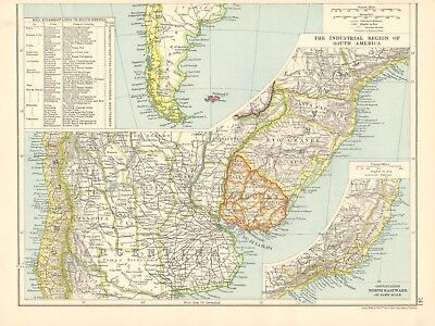1925 ca MAP - THE INDUSTRIAL REGION OF SOUTH AMERICA