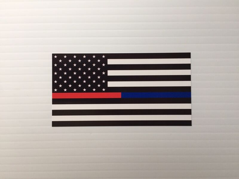 (2) FDNY NYPD Thin Red Blue Line Flag Decal Sticker