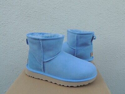 UGG CLASSIC MINI II WHISPER BLUE WATER-RESISTANT SUEDE BOOTS, US 7/ EUR 38 (Bluewater Boots)