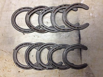 10 Used Steel Horse Shoes RUSTY, NO Nails, No Clips, Straight, No Drill Tech.