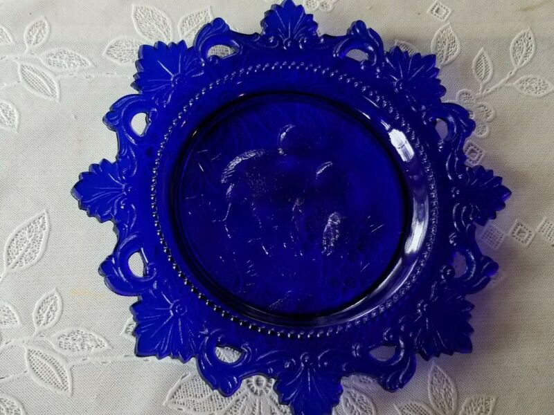 Westmoreland Baby Chicks Plate Cobalt Blue Pressed Glass