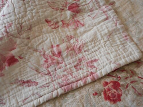 Antique French Shabby Roses Floral Two Fabric Boutis Quilt Pique ~blush pink red
