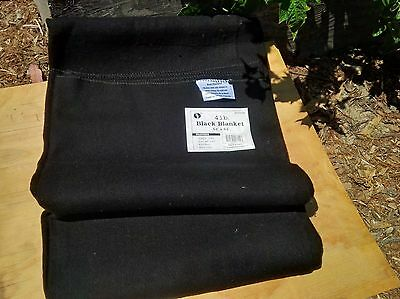 4 lb BLACK WOOL BLANKET Military Army Style Emergency Survival Camping Blend