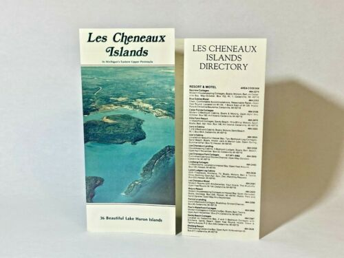Vtg Travel Brochure LES CHENEAUX ISLANDS Cedarville Michigan MI w Directory