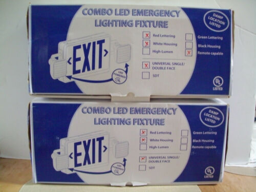 2) Remote Capable Combo LED Emergency Exit Sign/Fixtures UNUSED STOCK