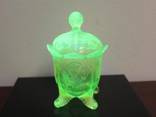 Gorgeous EARLY Uranium Vaseline Glass FOOTED Container..UN...PRISTINE