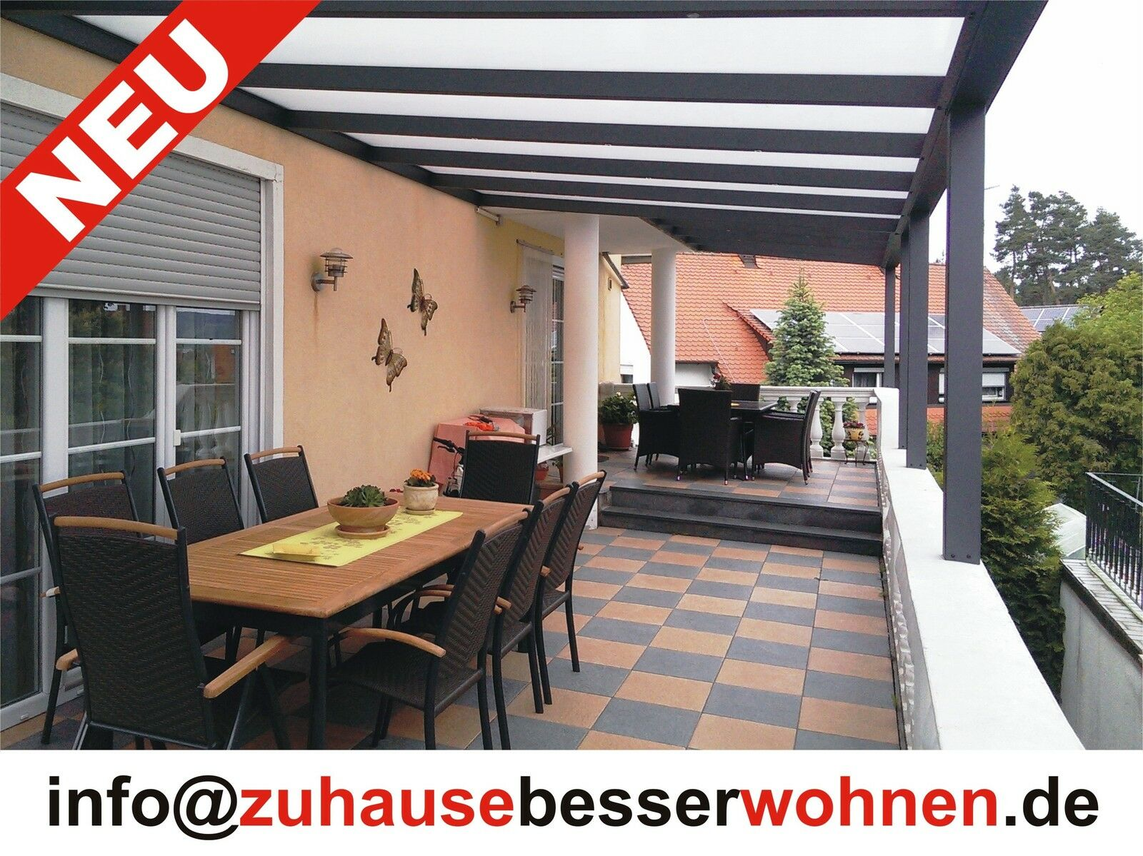 terrassen berdachung carport berdachung aluminium terrassendach vsg glas 4x3 5 eur. Black Bedroom Furniture Sets. Home Design Ideas