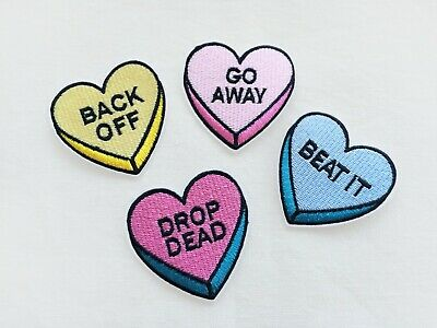 1x message heart tag PATCH - pink yellow blue pills pastel drawing pop art  back