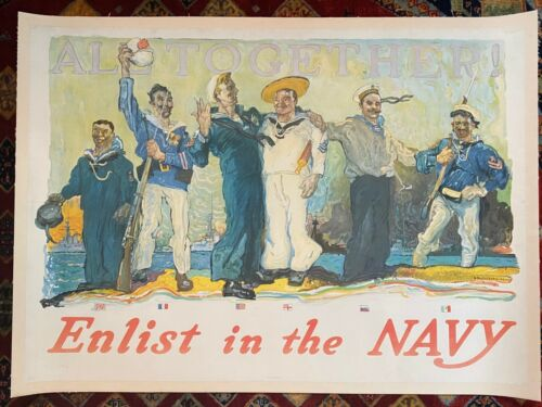 """Vintage WWI Navy Recruitment Poster, c 1918, Linen Backed """"Enlist in the Navy"""""""