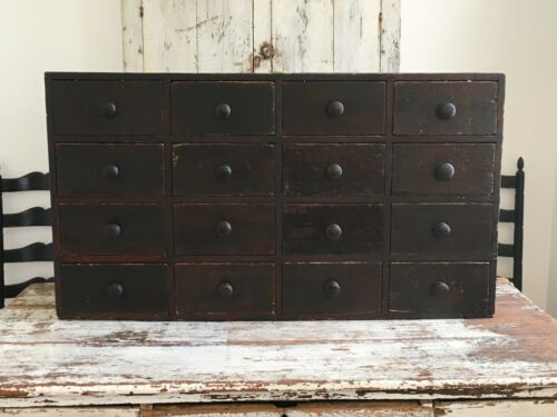 EARLY AAFA ANTIQUE FOLK ART AMERICAN APOTHECARY CABINET SQUARE NAILS SIGNED