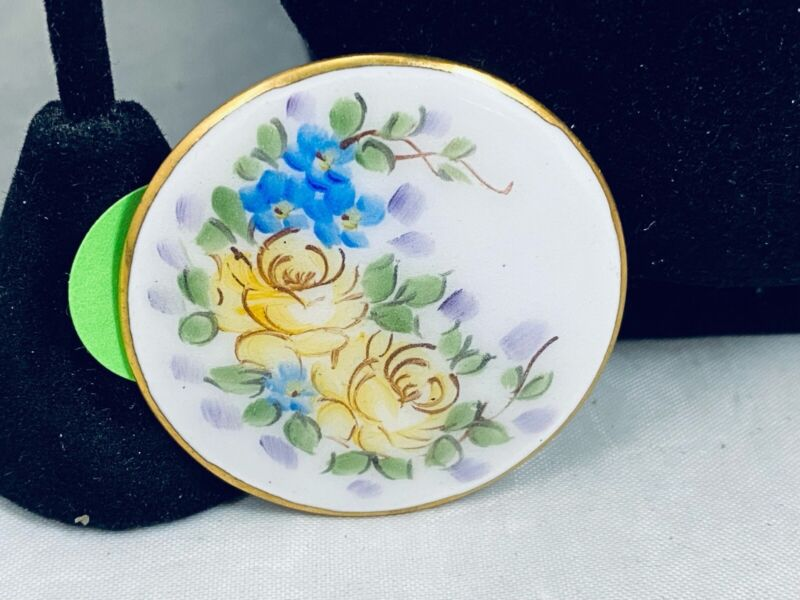 VTG. YELLOW & BLUE ENAMEL GOLD TONE HAND PAINTED ROSE FLOWERS BROOCH