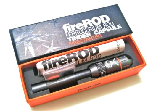 Exotac Fire ROD Ferrocerium Firestarter w/ Tinder Capsule. GUNMETAL