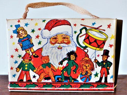 ANTIQUE Vintage CHRISTMAS 1920 Cracker CANDY Cookie BOX SANTA CLAUS Ornament NOS