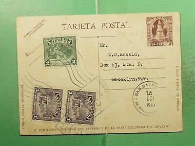 DR WHO 1940 EL SALVADOR SAN SALVADOR UPRATED POSTAL CARD TO USA  g18109