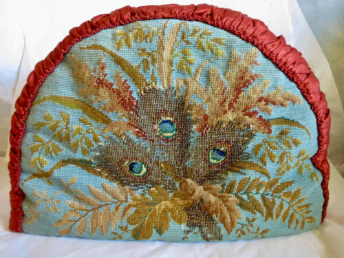 Antique Victorian Beaded & Petit Point Tea Cozy Peacock Eyes
