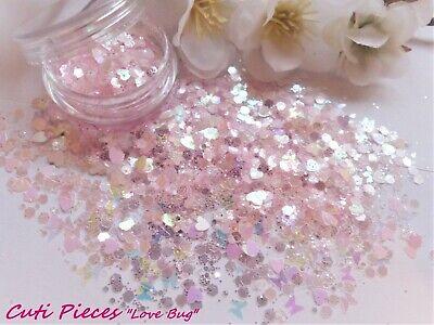 Nail Art *Love-Bug* Holographic Hexagons Hearts Butterflies Glitter Spangles Pot