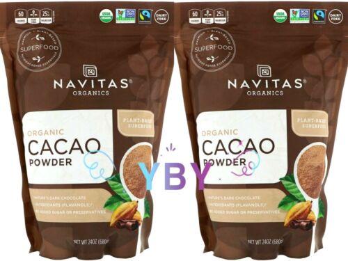 2 Packs Navitas Organics Organic Cacao Powder 24 OZ Each Pack