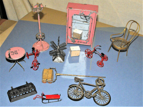 Metal Dollhouse Miniature Lot Furniture Vacuum Bicycle Sterling Silver Windmill