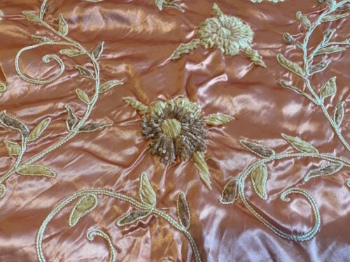 BEAUTIFUL Antique Coverlet w Velvet & Rose Floral Pattern on Satin