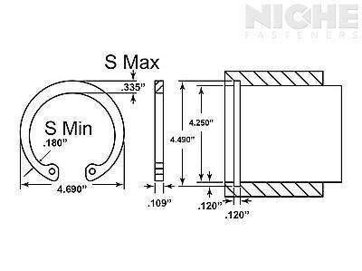 Housing Retaining Ring Internal 4-1/4 Spring Steel PH (5 Pieces)