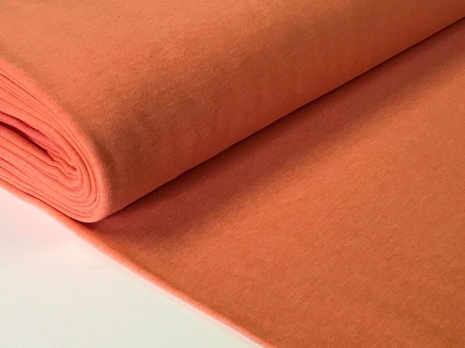 Sweatstoff meliert uni viele Farben METERWARE ÖKOTEX angeraut 140 cm breit Orange