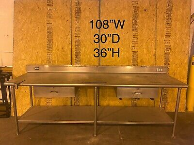 Stainless Steel Cafeteria Prep Station Without Sink.