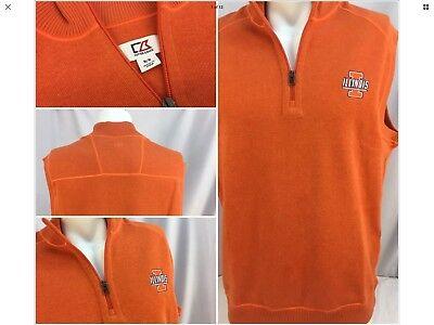 Illinois Singlet - Illinois Illini Sweater Vest M Orange Cotton 1/4 Zip Cutter Buck Worn 1x YGI 359